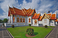 Ornate architecture of the Ordination Hall (Ubosot Hall) at Wat Benchamabophit, Bangkok, Thailand