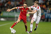 Spain's Juanfran Torres (l) and Belarus' Pavel Nekhaychik during 15th UEFA European Championship Qualifying Round match. November 15,2014.(ALTERPHOTOS/Acero) /NortePhoto nortephoto@gmail.com