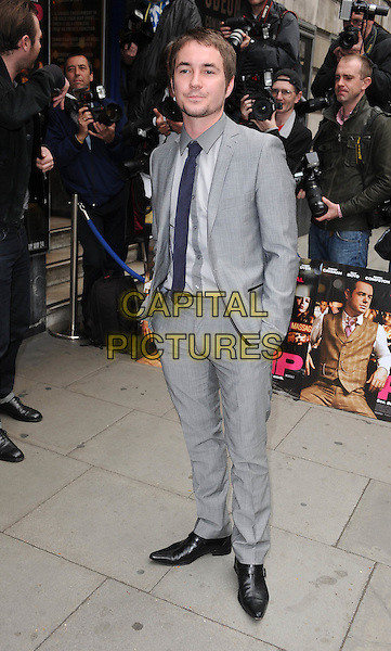 "MARTIN COMPSTON.The premiere of ""Pimp"", Odeon Covent Garden, London, England. .19th May 2010.full length hands in pockets black shirt tie grey gray suit goatee facial hair beard.CAP/BEL.©Tom Belcher/Capital Pictures."