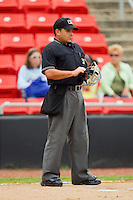 Home plate umpire Jose Esteras during a South Atlantic League game between the Kannapolis Intimidators and the Hickory Crawdads at  L.P. Frans Stadium August 1, 2010, in Hickory, North Carolina.  Photo by Brian Westerholt / Four Seam Images