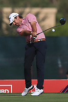 Thomas Aiken (RSA) on the 3rd tee during Round 3 of the Omega Dubai Desert Classic, Emirates Golf Club, Dubai,  United Arab Emirates. 26/01/2019<br /> Picture: Golffile | Thos Caffrey<br /> <br /> <br /> All photo usage must carry mandatory copyright credit (© Golffile | Thos Caffrey)