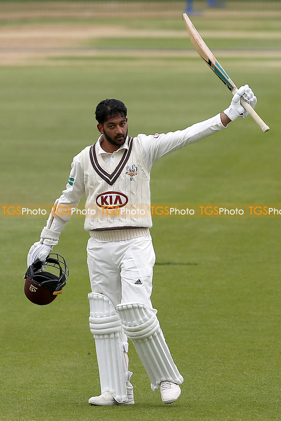 Ryan Patel of Surrey acknowledges the crowd after reaching his century during Surrey CCC vs Essex CCC, Specsavers County Championship Division 1 Cricket at the Kia Oval on 12th April 2019