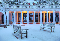 The University of Virginia benches in snow near the rotunda on central grounds.