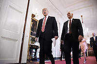 United States President Donald J. Trump and US Vice-President Mike Pence arrive in the East Room to participates in the American Leadership in Emerging Technology Event at the White House in Washington, DC, on June 22, 2017. <br /> Credit: Olivier Douliery / Pool via CNP /MediaPunch