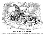Any Port in a Storm. It is poor Brown's second time out on his Motor, and he has a particular dread of dogs.