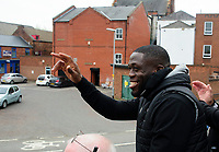 Lincoln City's John Akinde waves to fans during the Open Top Bus Parade through Lincoln<br /> <br /> Photographer Chris Vaughan/CameraSport<br /> <br /> The EFL Sky Bet League Two - Lincoln City - Champions Parade - Sunday 5th May 2019 - Lincoln<br /> <br /> World Copyright © 2019 CameraSport. All rights reserved. 43 Linden Ave. Countesthorpe. Leicester. England. LE8 5PG - Tel: +44 (0) 116 277 4147 - admin@camerasport.com - www.camerasport.com