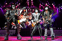 ALBUQUERQUE NM - AUGUST 7:  Gene Simmons, Tommy Thayer and Paul Stanley of Kiss perform at the Hard Rock Casino Albuquerque on August 7, 2012 in Albuquerque, New Mexico. /NortePhoto.com<br />