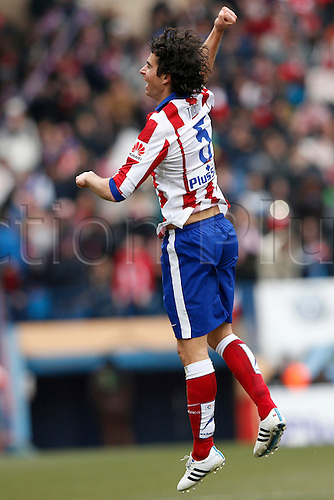 07.02.2015. Madrid, Spain. La Liga football, Atletico Madrid versus Real Madrid.  5 Tiago Cardoso Mendes Midfielder of Atletico de Madrid celebrates the  after scoring his team´s first goal.