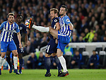 Harry Kane of Tottenham challenged by Shane Duffy of Brighton during the premier league match at the Amex Stadium, London. Picture date 17th April 2018. Picture credit should read: David Klein/Sportimage