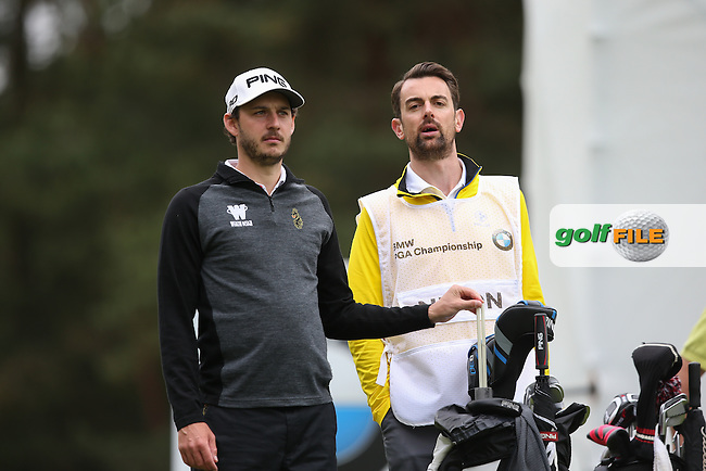 Matthew Nixon (ENG) with his new caddie during Round Two of the 2015 BMW PGA Championship over the West Course at Wentworth, Virginia Water, London. 22/05/2015Picture David Lloyd, www.golffile.ie.