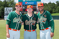 (L-R) Greensboro Grasshoppers pitchers Michael Mertz (25), Taylor Braley (10), and Jeremy Ovalle (29) combined on a 7-inning no-hitter against the Kannapolis Intimidators at Kannapolis Intimidators Stadium on August 5, 2018 in Kannapolis, North Carolina.  The Grasshoppers defeated the Intimidators 2-1 in game one of a double-header.  (Brian Westerholt/Four Seam Images)