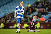 Aston Villa's Jack Grealish gestures after being brought down by Queens Park Rangers' Josh Scowen<br /> <br /> Photographer Andrew Kearns/CameraSport<br /> <br /> The EFL Sky Bet Championship -  Aston Villa v Queens Park Rangers - Tuesday 13th March 2018 - Villa Park - Birmingham<br /> <br /> World Copyright &copy; 2018 CameraSport. All rights reserved. 43 Linden Ave. Countesthorpe. Leicester. England. LE8 5PG - Tel: +44 (0) 116 277 4147 - admin@camerasport.com - www.camerasport.com