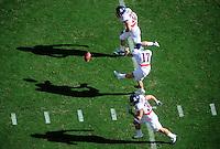 Nov. 28, 2009; Tempe, AZ, USA; Arizona Wildcats kicker (17) John Bonano kicks off the ball against the Arizona State Sun Devils at Sun Devil Stadium. Arizona defeated Arizona State 20-17. Mandatory Credit: Mark J. Rebilas-