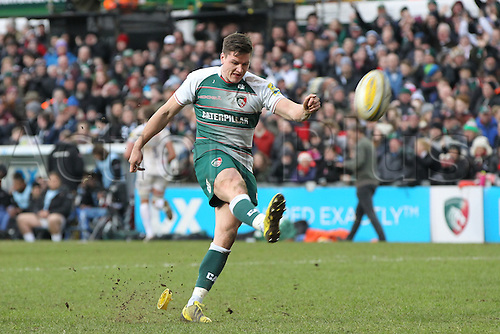 06.03.2016. Welford Road, Leicester, England. Aviva Premiership. Leicester Tigers versus Exeter Chiefs.  Tigers fly-half Freddie Burns kicks the conversion to the penalty try.