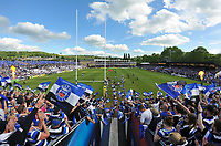 Bath Rugby captain Stuart Hooper leads his team out onto the field for the start of the match. Aviva Premiership semi-final, between Bath Rugby and Leicester Tigers on May 23, 2015 at the Recreation Ground in Bath, England. Photo by: Patrick Khachfe / Onside Images