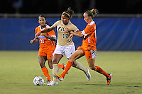 21 August 2011:  FIU's Scarlett Montoya (10) battles Florida's Jazmyne Avant (11) and Annie Speese (13) for the ball in the second half as the University of Florida Gators defeated the FIU Golden Panthers, 2-0, at University Park Stadium in Miami, Florida.