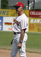 June 20, 2004:  Coach Jim Morrison of the Batavia Muckdogs, Short-Season Single-A affiliate of the Philadelphia Phillies, during a game at Dwyer Stadium in Batavia, NY.  Photo by:  Mike Janes/Four Seam Images