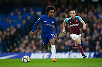 Chelsea's Willian in action <br /> <br /> Photographer Craig Mercer/CameraSport<br /> <br /> The Premier League - Chelsea v West Ham United - Sunday 8th April 2018 - Stamford Bridge - London<br /> <br /> World Copyright &copy; 2018 CameraSport. All rights reserved. 43 Linden Ave. Countesthorpe. Leicester. England. LE8 5PG - Tel: +44 (0) 116 277 4147 - admin@camerasport.com - www.camerasport.com