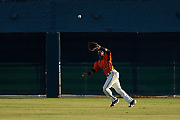 AZL Giants Orange center fielder Alexander Canario (14) prepares to catch a fly ball during a game against the AZL Angels at Giants Baseball Complex on June 17, 2019 in Scottsdale, Arizona. AZL Giants Orange defeated AZL Angels 8-4. (Zachary Lucy/Four Seam Images)