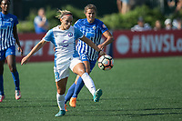 Allston, MA - Saturday August 19, 2017: Monica Hickmann Alves, Katie Stengel during a regular season National Women's Soccer League (NWSL) match between the Boston Breakers and the Orlando Pride at Jordan Field.