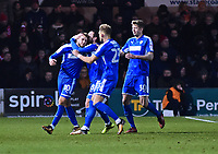 Notts County's Jorge Grant celebrates scoring his sides equalising goal to make the score 2-2<br /> <br /> Photographer Andrew Vaughan/CameraSport<br /> <br /> The EFL Sky Bet League Two - Lincoln City v Notts County - Saturday 13th January 2018 - Sincil Bank - Lincoln<br /> <br /> World Copyright &copy; 2018 CameraSport. All rights reserved. 43 Linden Ave. Countesthorpe. Leicester. England. LE8 5PG - Tel: +44 (0) 116 277 4147 - admin@camerasport.com - www.camerasport.com
