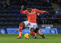 Pelly Ruddock of Luton Town is fouled during the Sky Bet League 2 match between Wycombe Wanderers and Luton Town at Adams Park, High Wycombe, England on 6 February 2016. Photo by Liam Smith.