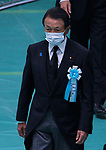 Japan's Japan's Finance Minister Taro Aso wearing face masks attends the memorial service for the war dead of World War II marking the 75th anniversary in Tokyo, Japan on August 15, 2020. (Photo by AFLO)