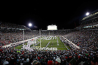 The Ohio State Buckeyes run on to the field before the college football game between the Ohio State Buckeyes and the Michigan State Spartans at Spartan Stadium in East Lansing, Saturday night, November 8, 2014. As of half time the Ohio State Buckeyes led the Michigan State Spartans 28 - 21. (The Columbus Dispatch / Eamon Queeney)