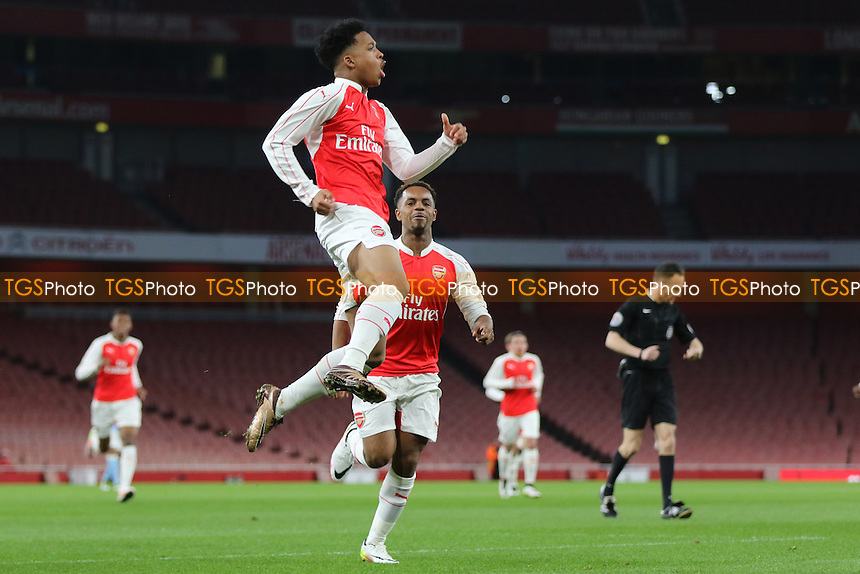 Chris Willock leaps into the air to celebrate scoring Arsenal's opening goalduring Arsenal Youth vs Manchester City Youth, FA Youth Cup Football at the Emirates Stadium on 4th April 2016
