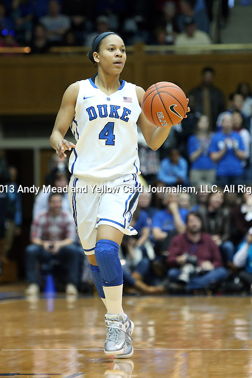 03 March 2013: Duke's Chloe Wells. The Duke University Blue Devils played the University of North Carolina Tar Heels at Cameron Indoor Stadium in Durham, North Carolina in a 2012-2013 NCAA Division I and Atlantic Coast Conference women's college basketball game. Duke won the game 65-58.