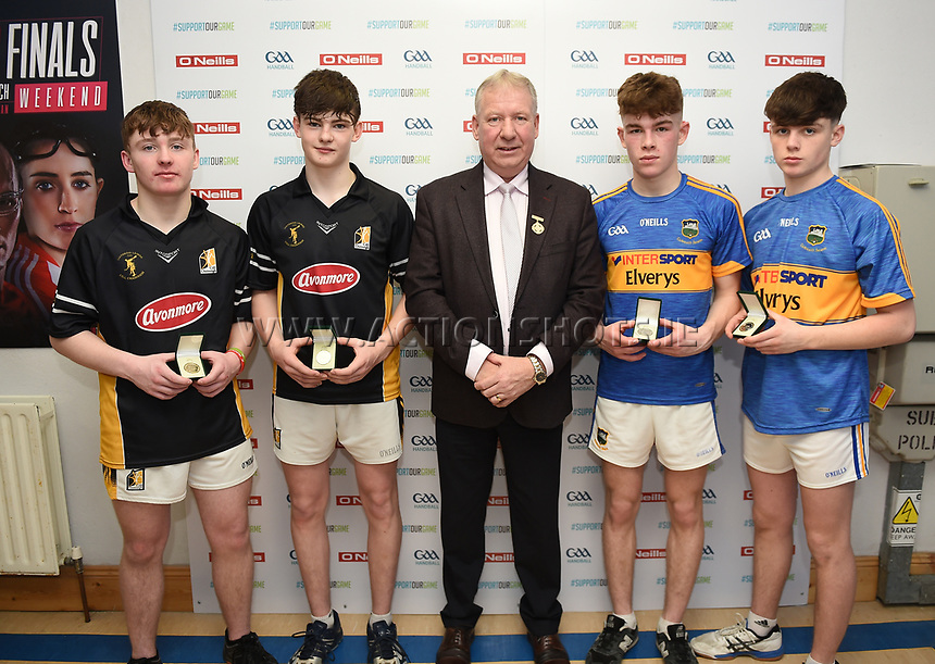 19/03/2018; 40x20 All Ireland Juvenile Championships Finals 2018; Kingscourt, Co Cavan;<br /> Boys Under-16 Doubles; Kilkenny (Kyle Dunne/Jack Doyle) v Tipperary (Jack McGrath/Conor O&rsquo;Dwyer)<br /> Runners up Jack McGrath and Conor O&rsquo;Dwyer, Winners Kyle Dunne and Jack Doyle with GAA Handball President Joe Masterson<br /> Photo Credit: actionshots.ie/Tommy Grealy