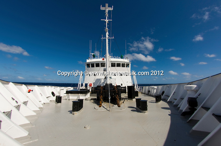 On board the expedition vessel, Spirit of Enderby, heading to the Kermadec Islands.