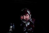 BULGARIA, Lazhnitsa, April 8, 2011. A Bulgarian muslim woman poses for a portrait in the remote village of Lazhnitsa in the Rhodope Mountains. southern Bulgaria. Bulgarian Muslims, which today are nearly 8% of the country's population and the largest muslim minority community in the European Union, revived their cultural and religious traditions after the fall of communist regime in Bulgaria in 1989. .BULGARIE, Lazhnitsa, 8 Avril 2011. Une Bulgare de confession musulmane pose pour un portrait dans le petit village de Lazhnitsa dans les montagnes des Rhodopes en Bulgarie. La minorité musulmane qui représente aujourd'hui près de 8% de la population totale du pays et qui est la plus large majorité musulmane dans les pays de l'Union Européenne a ravive ses traditions culturelles et religieuse après la chute du régime communiste Bulgare en 1989.