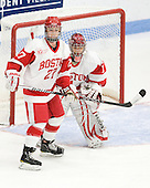 Tara Watchorn (BU - 27), Kerrin Sperry (BU - 1) - The Boston University Terriers defeated the Harvard University Crimson 5-2 on Monday, January 31, 2012, in the opening round of the 2012 Women's Beanpot at Walter Brown Arena in Boston, Massachusetts.