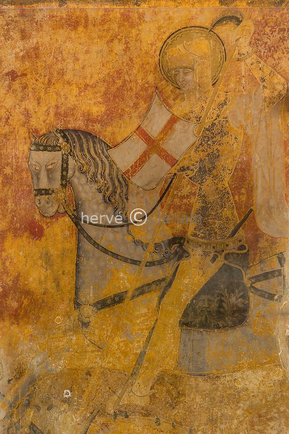 France, Allier (03), Ébreuil, église Saint-Léger d'Ébreuil, fresque représentant saint Georges terrassant le dragon // France, Allier, Ebreuil, Saint Leger d'Ebreuil church, frescoes on the columns of the nave, Saint George slaying the dragon
