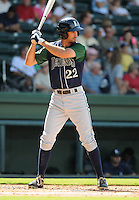 Outfielder Justin Gominsky (22) of the Lexington Legends, a Houston Astros affiliate, in a game against the Greenville Drive on July 22, 2012, at Fluor Field at the West End in Greenville, South Carolina. Lexington won, 13-7. (Tom Priddy/Four Seam Images)
