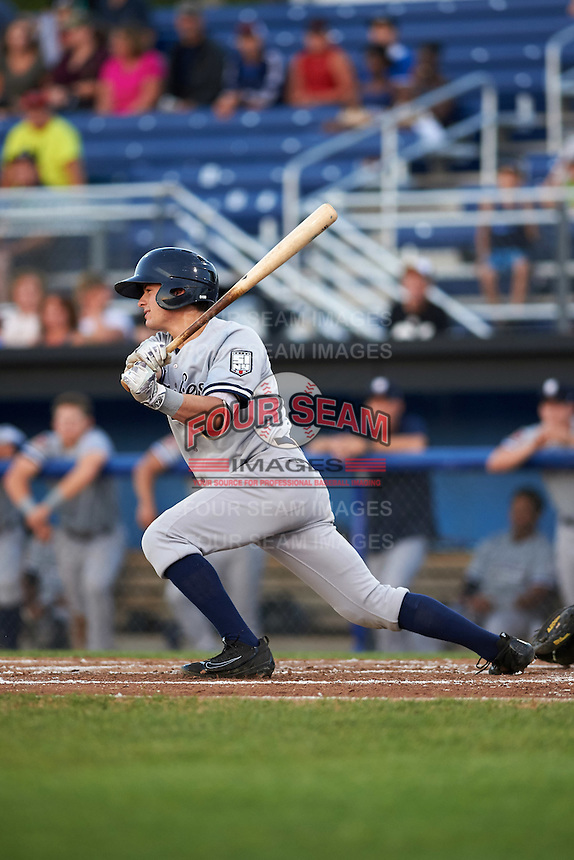 Staten Island Yankees second baseman Nick Solak (59) at bat during a game against the Batavia Muckdogs on August 26, 2016 at Dwyer Stadium in Batavia, New York.  Staten Island defeated Batavia 6-2.  (Mike Janes/Four Seam Images)