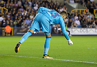 Goalkeeper Bartosz Bialkowski of Ipswich Town picks up a lighter that is thrown at him during the Sky Bet Championship match between Millwall and Ipswich Town at The Den, London, England on 15 August 2017. Photo by Alan  Stanford / PRiME Media Images.