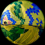 The inside of a hot air balloon is seen while the Up & Away team fills the hot air balloon in Middletown, California. This photo was taken with a fisheye lens on Saturday July 14th 2012. (Photo By Brian Garfinkel)