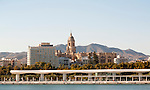 Cityscape view of historic cathedral and city centre, Malaga, Spain