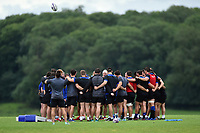 The Bath Rugby forwards huddle together. Bath Rugby pre-season training session on July 28, 2017 at Farleigh House in Bath, England. Photo by: Patrick Khachfe / Onside Images