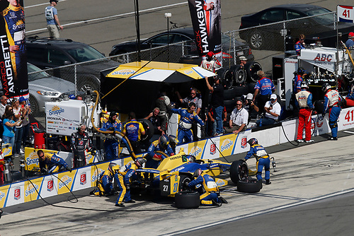 22-23 August, 2015, Pocono, Pennsylvania USA<br /> Marco Andretti pit stop<br /> © 2015, Michael L. Levitt<br /> LAT Photo USA