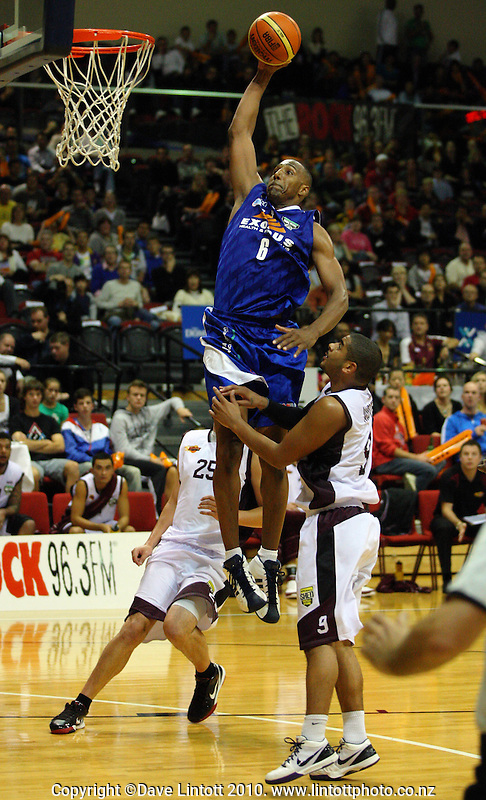 Saints import Erron Maxey slam dunks during the National Basketball League match between the Wellington Saints and Harbour Heat at TSB Bank Arena, Wellington, New Zealand on Thursday, 29 April 2010. Photo: Dave Lintott / lintottphoto.co.nz
