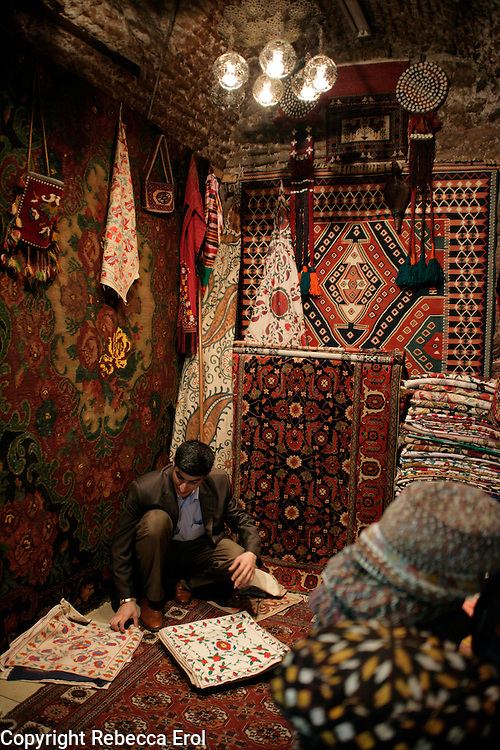 Many carpets on display at a shop in the Grand Bazaar, Istanbul, Turkey.