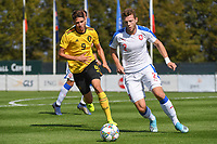 20190910 - TUBIZE , BELGIUM : Belgian Antoine Colassin (L) and Czech Republican's Martin Cedidla (R) pictured during the friendly  soccer match between Men's under 19 teams of  Belgium and Czech Republic , in Tubize , Belgium . Tuesday 10th September 2019 . PHOTO SPORTPIX.BE / DIRK VUYLSTEKE
