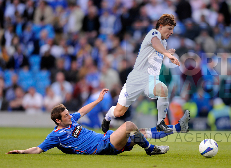 Kevin Thomson of Rangers tackles Andrey Arshavin of Zenit St Petersburg during the Europa League Final match at The Etihad Stadium, Manchester. Picture date 14th May 2008. Picture credit should read: Simon Bellis/Sportimage