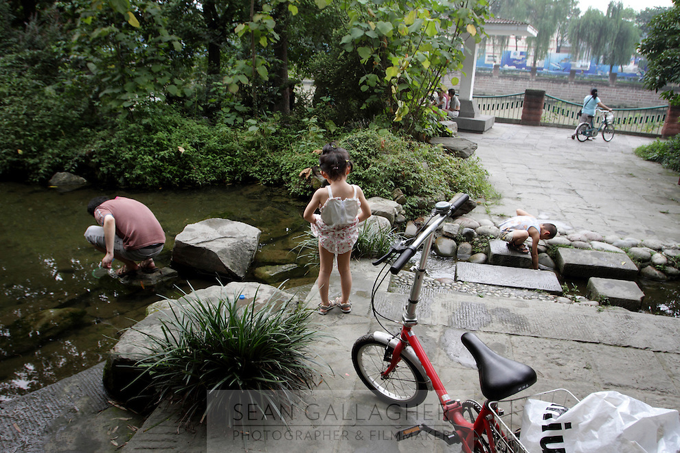 """Inside the """"Living Water Garden"""" in Chengdu, Sichuan Province. The garden is a park aimed at highlighting the importance of the relationship between man and water. 2010"""