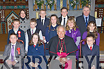 Students Raheen NS who made their Confirmation in St Agatha's church Glenflesk on Thursday front row l-r: Felim Jacob, Nicole Culloty, Bishop Bill Murphy, Cieran Patterson. Back row: Sean Lucey, Joan Mullane, Patrick Warren, David Sullivan, Niamh Faulds, Cian Jacob, Karen Leader, Michael O'Keeffe Principal and Chloe O'Connor