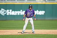 Jordan Starkes (23) of the Furman Paladins takes his lead off of second base against the Wake Forest Demon Deacons at BB&T BallPark on March 2, 2019 in Charlotte, North Carolina. The Demon Deacons defeated the Paladins 13-7. (Brian Westerholt/Four Seam Images)