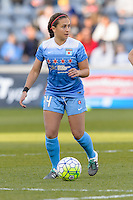 Bridgeview, IL, USA - Saturday, April 23, 2016: Chicago Red Stars midfielder Danielle Colaprico (24) during a regular season National Women's Soccer League match between the Chicago Red Stars and the Western New York Flash at Toyota Park. Chicago won 1-0.